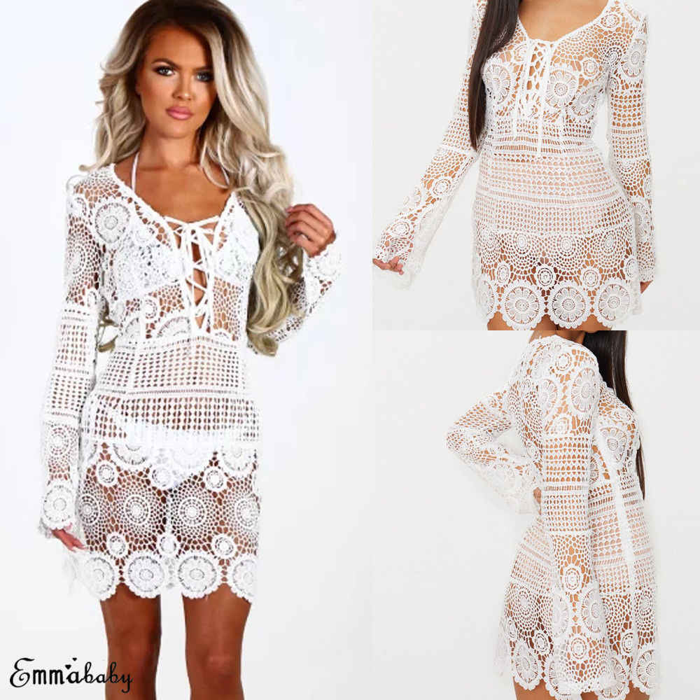 Bikini Cover Up Lace Floral Hollow Crochet Swimsuit Beach Dress Women Summer Ladies White Cover-Up Bathing Suit Beach Wear Tunic