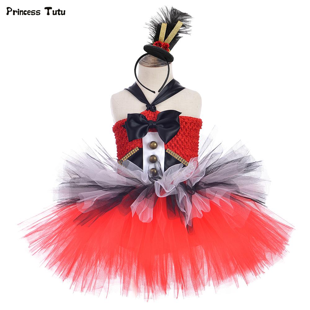 Circus Ringmaster Girls Tutu Dress Red and Black White Girls Birthday Party Dress Kids Christmas Halloween Fancy Dress Costumes