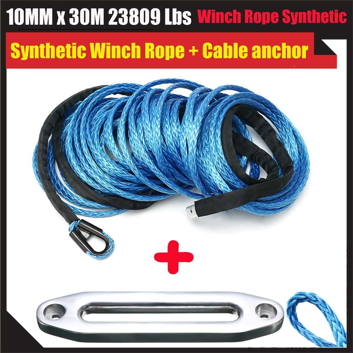 NEW 10mmX30m Black Synthetic Winch Rope with Aluminum Hawse Fairlead For ATV Winch KitNEW 10mmX30m Black Synthetic Winch Rope with Aluminum Hawse Fairlead For ATV Winch Kit
