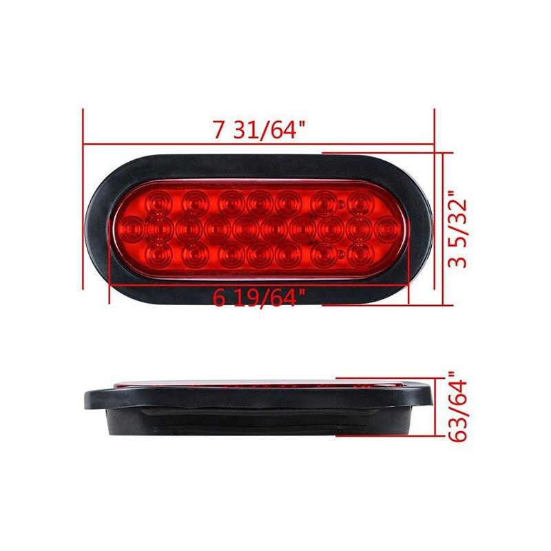 Kit feu arrière et fiche de câblage pour feux arrière de frein ovale 24 LED blanc rouge 6 pour lampes de camion