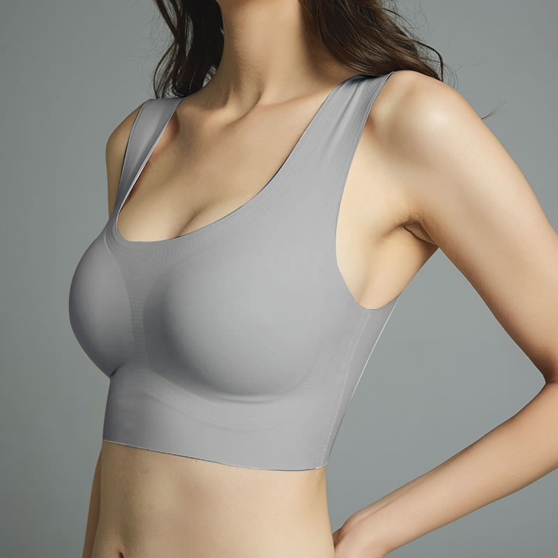 Thin Push Up Vest Bra Women Ice Silk Seamless Underwear Soft Comfortable Sleep Top With Chest Padded Plus Size Bras For Women