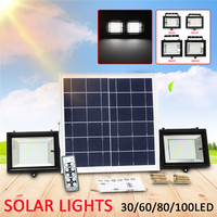 2 IN 1 2PCS 30/60/80/100 LED Solar Lights Outdoor with Remote Control Waterproof Super Bright Solar Flood Light Wall Light