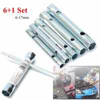 Drillpro 6pcs Silver Tubular Box Spanner Set 6mm - 17mm Tube Spanner Wrench Metric Socket Set Repair Hand Tools