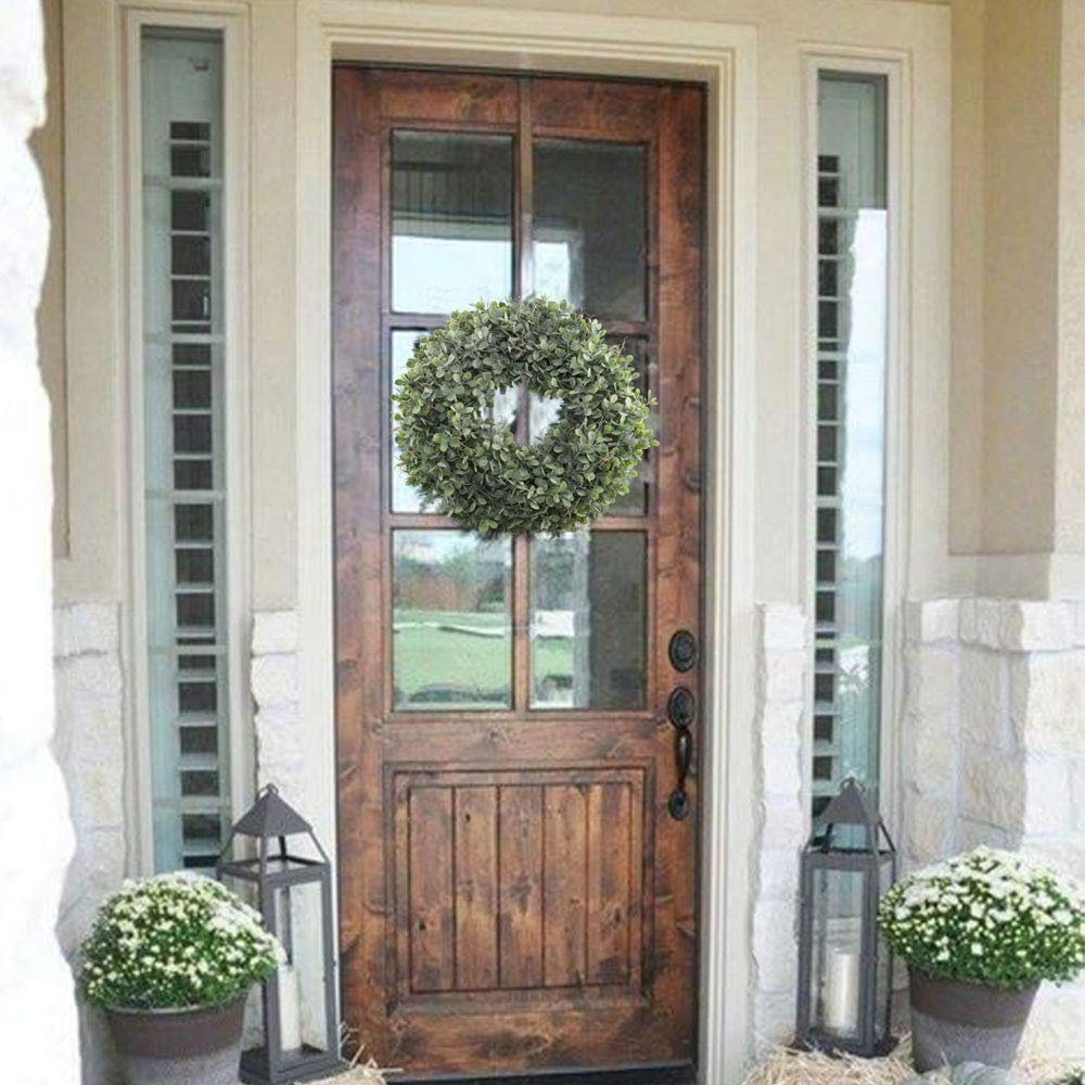 Artificial Green Leaves Wreath - 17.5 Inch Front Door Wreath Shell Grass Boxwood Wreath For Wall Window Party Decor