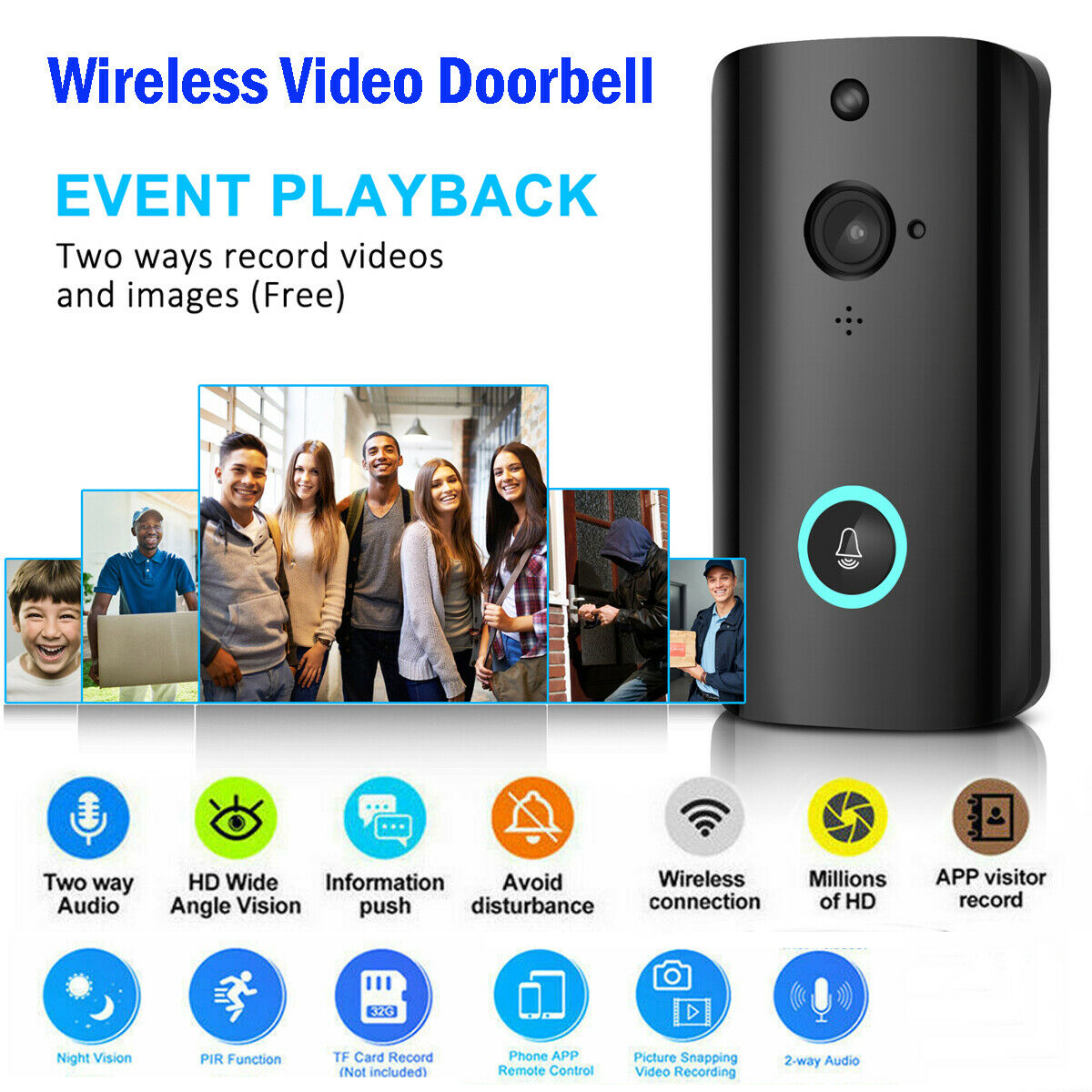 Wireless WiFi Video Smart Doorbell Smart Phone Door Ring Intercom Security Camera Bell