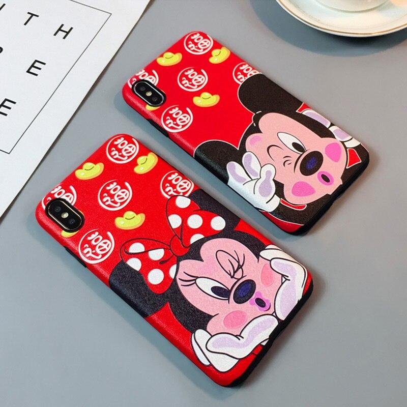 Bonita funda 3D de silicona de Mickey Minnie para iPhone X de