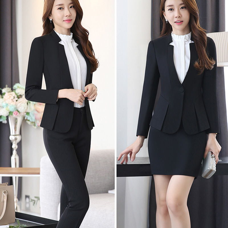 Black Blazer Women Business Trouser Suits Formal Office Suits Work Pant And Jackets Set Ladies Office Uniform Designs Pantsuits