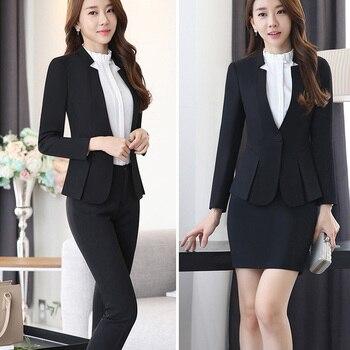 Black Blazer Women Business Trouser Suits Formal Office Suits Work Pant and Jackets Set Ladies Office Uniform Designs Pantsuits
