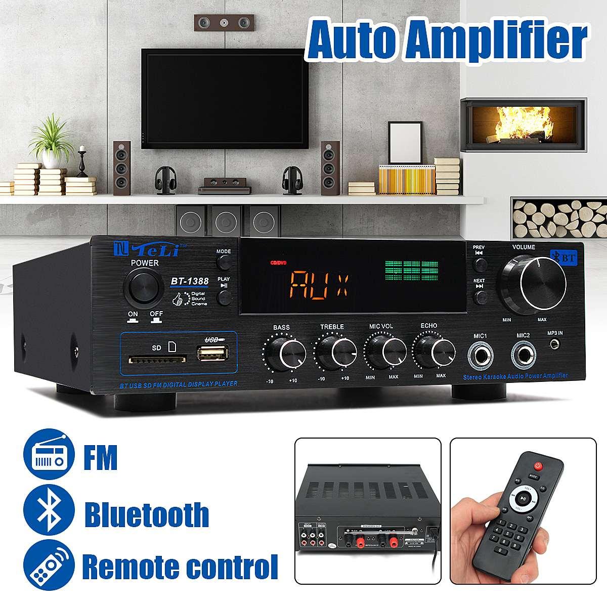 220 V-240 V 1388 2*200 W Bluetooth стерео 2,0 усилитель Hi-Fi питание, дистанционное управление USB SD AUX микрофон Вход автоусилитель