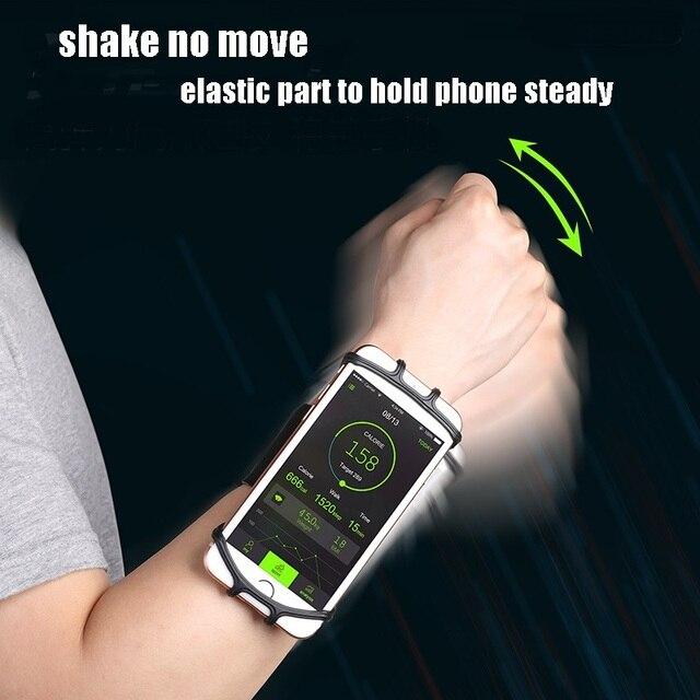VNSTRIP evrensel koşu kol bandı elastik silikon bilek bandı telefon tutucu 4.5 6.5 inç 360 derece dönen Samsung