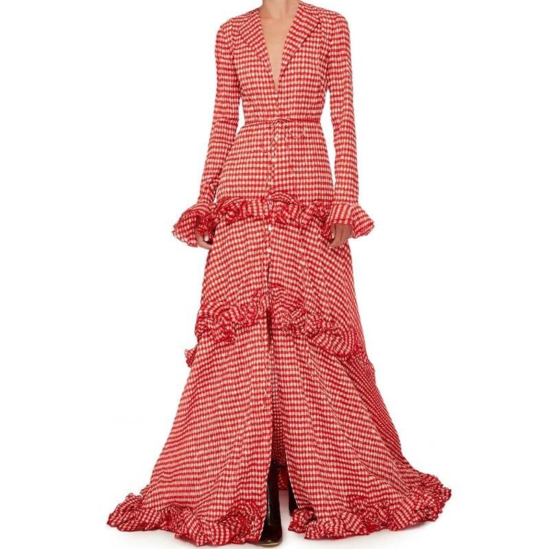 Haute Revers Partie Bouton Imprimer Élégant Maxi Robe Doux Rouge Plaid D'été Ol Falbala Robes Femmes Lâche Taille Asymétrique Décontracté nvNPym08wO