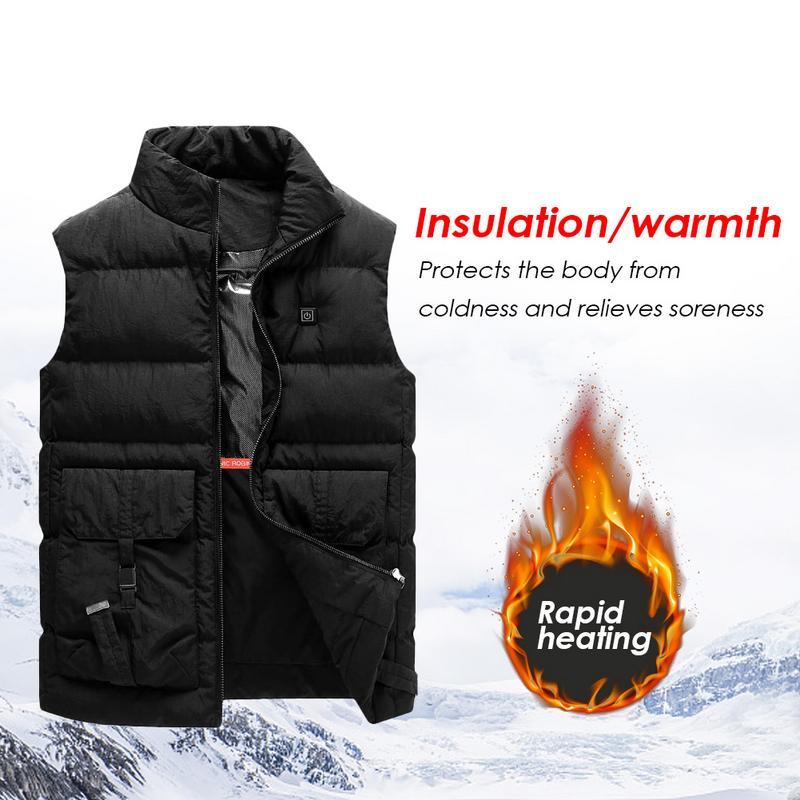 Fashion Big pocket USB Heating Vest Heated Jacket Heating Winter Clothes Men Thermal Sleeveless Graphene Warm Vest