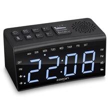 Современный цифровой fm-радио будильник двойные сигналы температурный Повтор дневное время с регулируемой яркостью с подсветкой 6,5 дюймовый светодиодный экран#3
