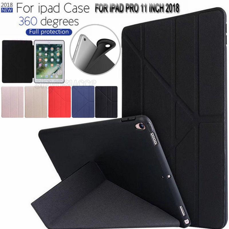 Cas pour Nouvel iPad Pro 11 pouce 2018 Libération Souple fond de silicone + PU Cuir Flip Stand Smart Cover Pour iPad Pro 11 A1980 A1934