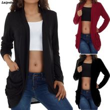 2018 Womens Solid Casual Sexy Long Sleeve Open Front Pocket Loose Cardigan Lightweight and non-elastic fabric Coat Laipelar texture pocket open front cardigan
