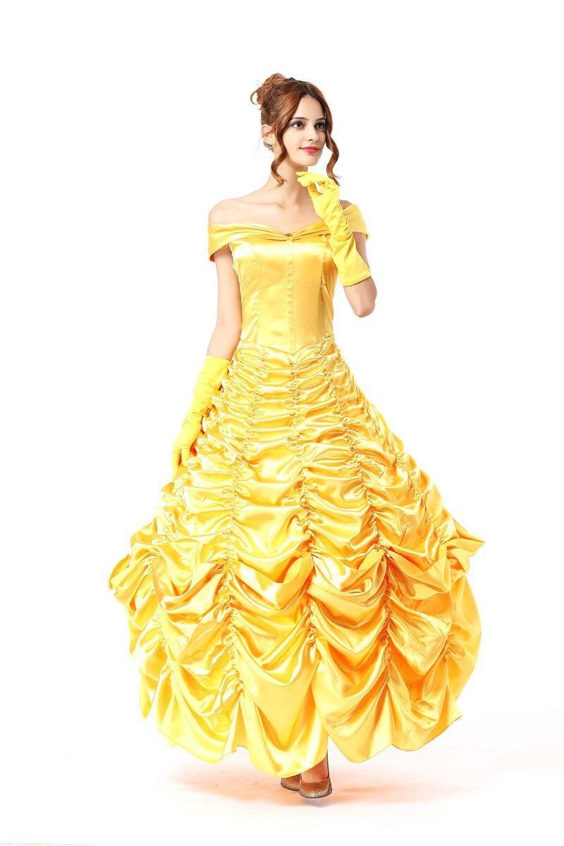 Halloween Beauty And Beast Princess Belle Yellow Princess Dress Tutu Skirt Adult Princess S-2XL in stock