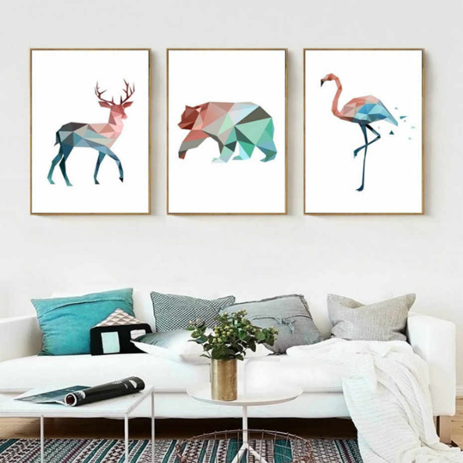 SURELIFE Geometric Deer Bear Flamingo Animal Canvas Painting Nordic Anime Poster Print Art Wall Pictures Kids Bedroom Home Decor