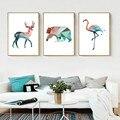 SURELIFE ciervo geométrico oso Flamingo Animal pintura de la lona nórdicos Anime Poster, arte de pared de dormitorio de los niños casa Decoración