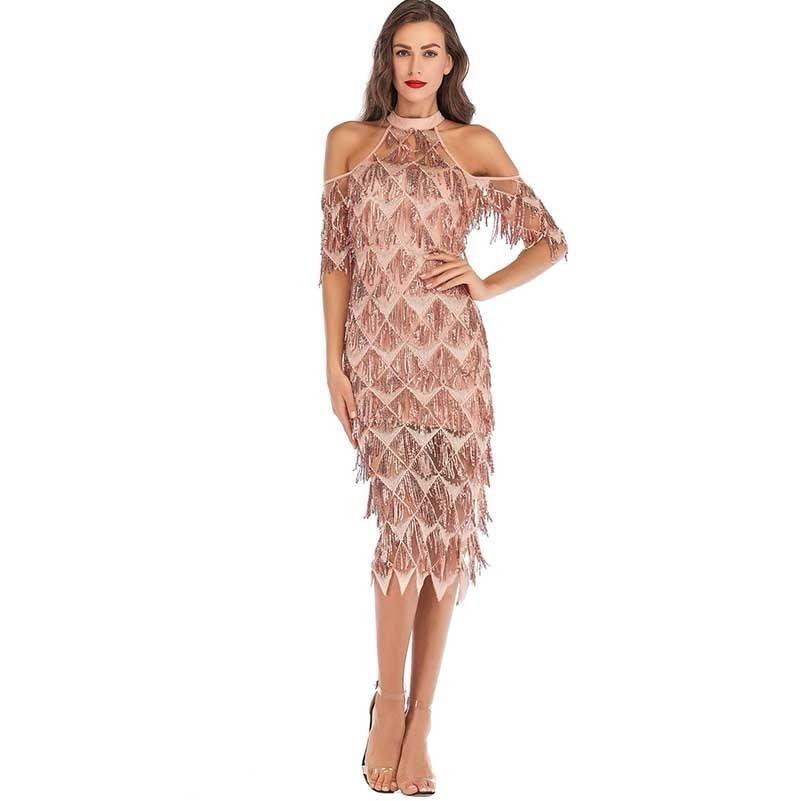 MUXU fashion gold sequin dress sexy robe femme long dress vestido elegant frocks party jurken fringe