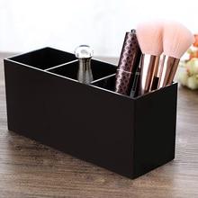 Acrylic Makeup Brush Holder Strong 3-Slot Cosmetics Makeup Brushes Organizer Lip Gloss Holder For Dresser Bathroom Makeup Tool