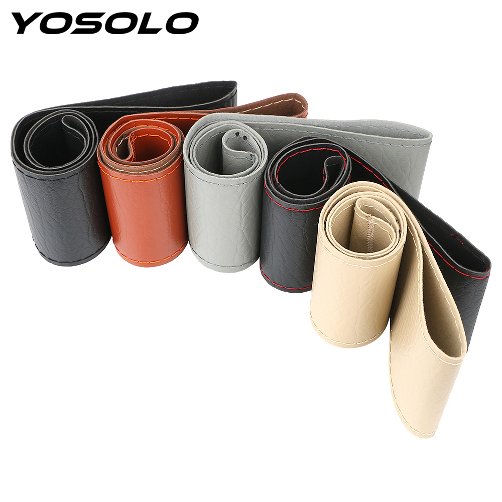 YOSOLO 38cm 40cm Steering Wheel Covers With Needle and Thread Auto Decoration Imitation leather Steering Cover Car Accessories