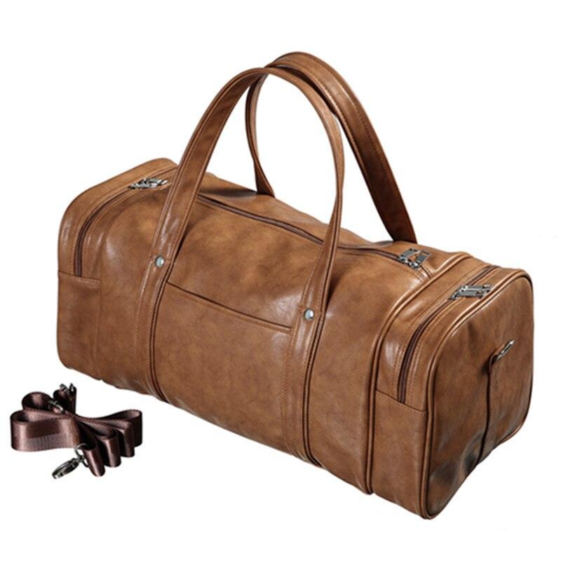 Men PU Leather Gym Luggage Bag Travel Sports Fitness Handbag Shoulder Yoga Sac De Tas For Sporttas Traveling Weekend Bags B022