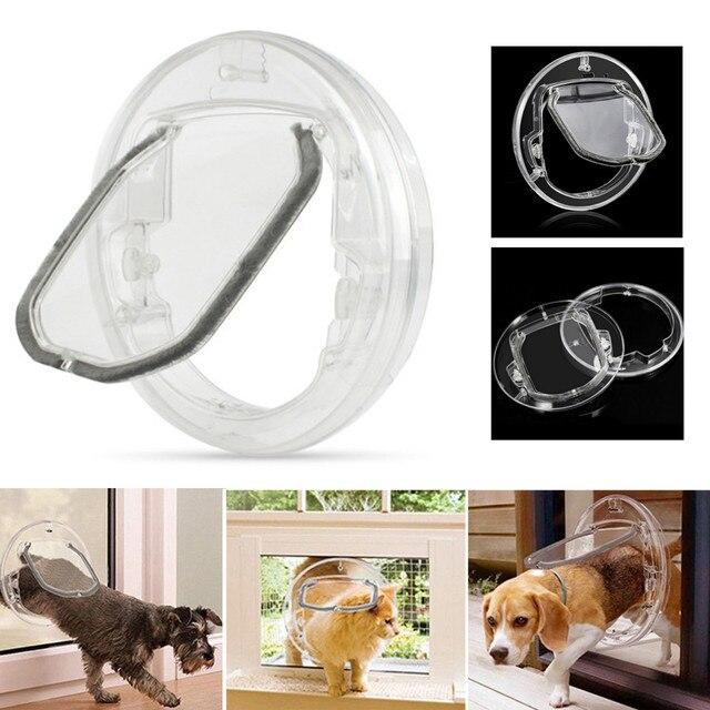4 דרכים עגול שקוף כלב דש דלת ביתי חתול שער ביטחון הניתן לנעילה לחיות מחמד כניסה זכוכית חלון גור חור דלת