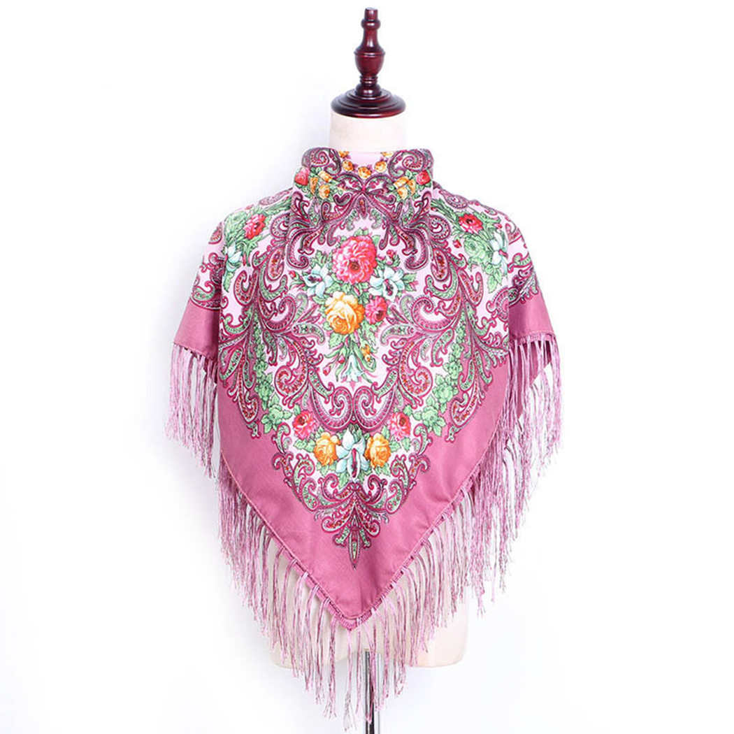 Women Flower   Scarves   Fashion   Wraps   Tassel Square   Scarf   Russian Ethnic Style Floral Print   Scarf   Retro Cotton Blanket Shawl Female