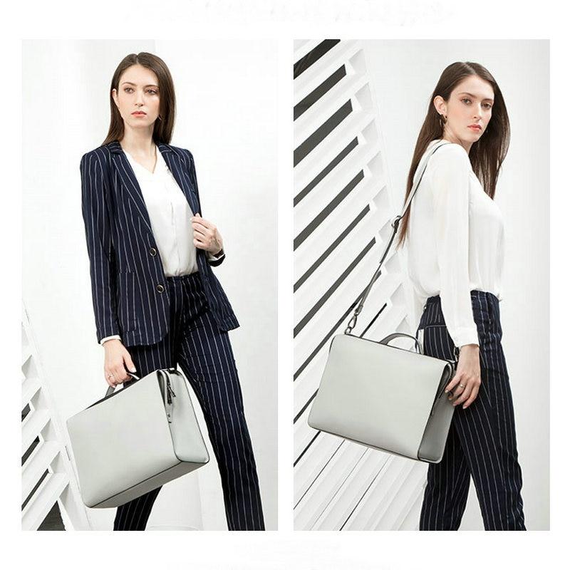YINUO PU bolso de cuero de alta capacidad bolso de hombro para 14 pulgadas portátil bolso maletín impermeable desmontable bolso de verano - 2