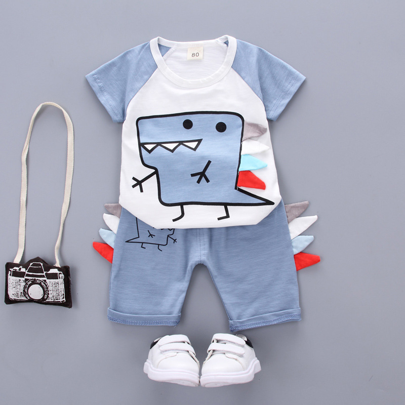 Summer Children Casual Clothing Sets Baby Boys Girls Cartoon Dinosaur T shirt Shorts 2Pcs Suits Fashion Toddler Cotton Clothes in Clothing Sets from Mother Kids