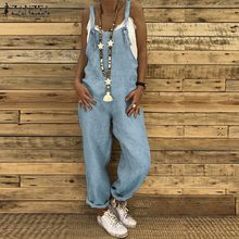ZANZEA Summer Straps Jumpsuits Women Dungarees Bib Overalls Cotton Linen Rompers