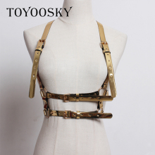 2019 Women Sexy Belt Garter Gold Vest Vintage Metal PU Leather Hip Hop Waist Harness Belts Adjustable Buckle Cinturon