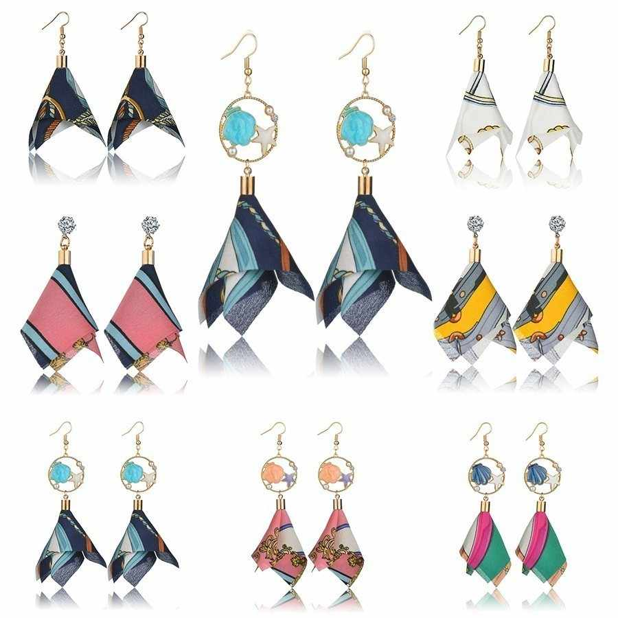 Vintage Colorful Cloth&Alloy Women Drop Earrings Long Jewelry Earring Korean Crystal Tassel Irregular Drop Earrings Women Gift