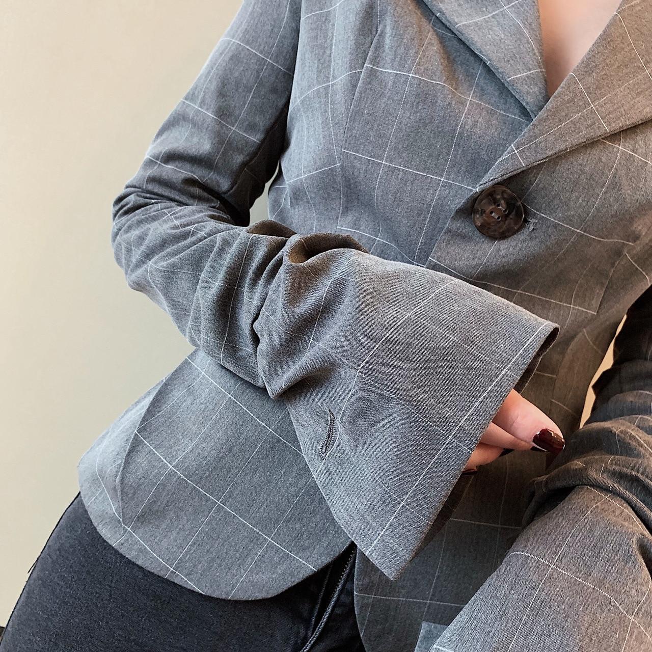 2019 Deat Printemps Nouveau Ash Ol Blazer down Manches Pladred Unique Turn Wd90002s Mince De Vêtements Femmes Advanced Flare Mode Poitrine d1r15xqwE