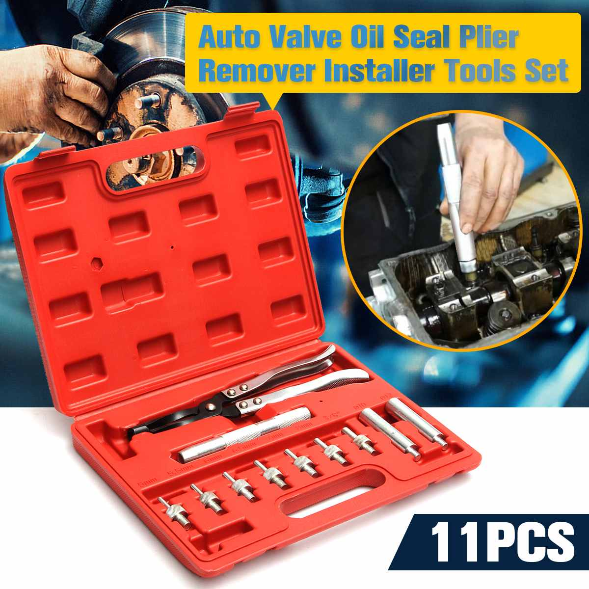 Doersupp 11 In 1 Professional Universal Case 11pcs Auto Valve Stem Seal Plier Seating Pliers Remover Installer Tool Kit Set