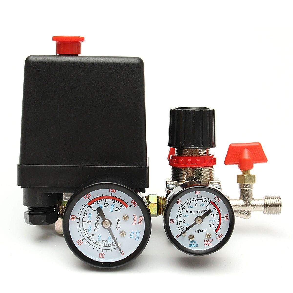 240V AC Regulator Heavy   Air Compressor Pump Pressure Control Switch 4 Port Air Pump Control Valve 7.25-125 PSI With Gauge240V AC Regulator Heavy   Air Compressor Pump Pressure Control Switch 4 Port Air Pump Control Valve 7.25-125 PSI With Gauge