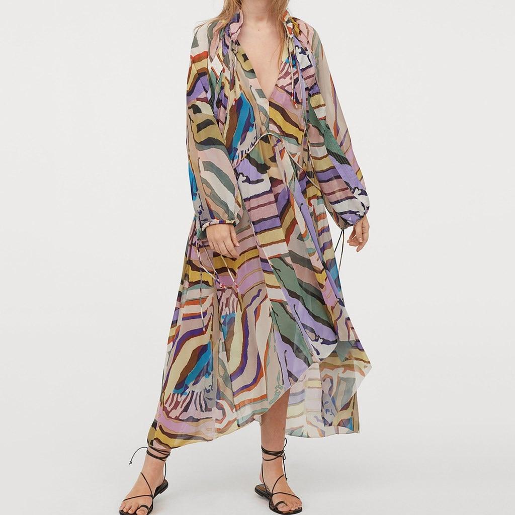 Colorful Printed Loose Long Dresses Women Fashion Sleeve Dress Elegant Sexy V Neck
