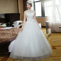 New Marry Bride Wedding Dress White Dentelle Sexy Helterneck Lace Set Auger Self cultivation Graceful Luxury Style Gown