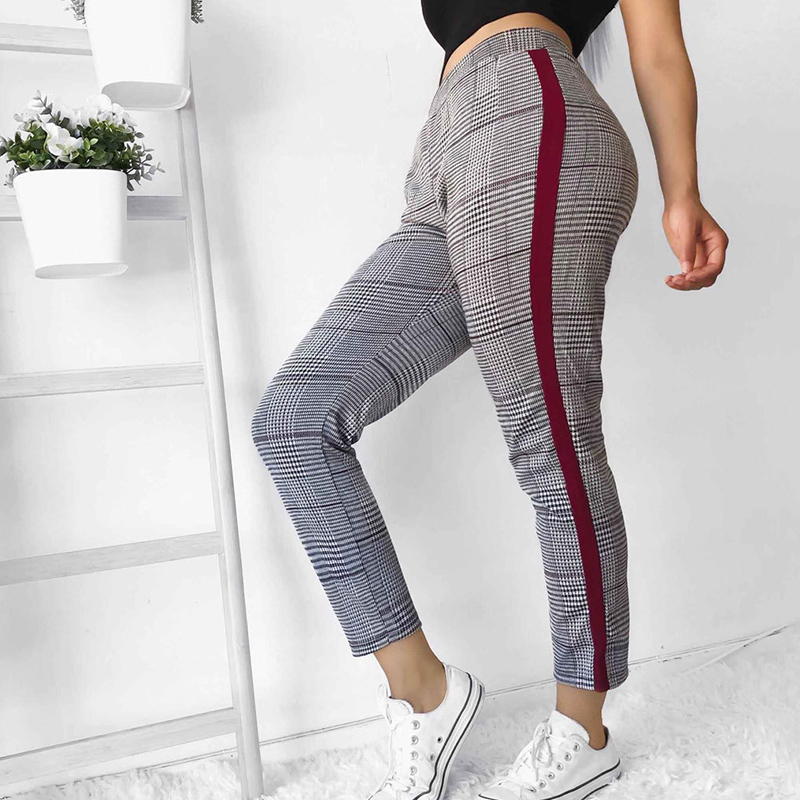 Women Plaid Pencil Pants Fashion Lady Side Striped Skinny Long Pant Female Casual Leisure Elastic Waist Long Fit Trousers S-XL