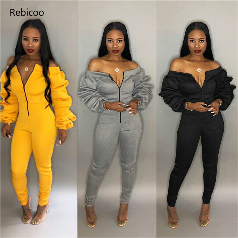 Women Casual Jumpsuit Zipper Front Slash Neck Off Shoulder Long Puff Sleeve Thick   Romper   Fashion Overalls Female Jumper