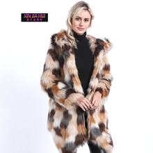 Fur Coat women Fake fur in the long coat comfortable and warm winter Fox Hair Collision Leather Loose Stitching Color