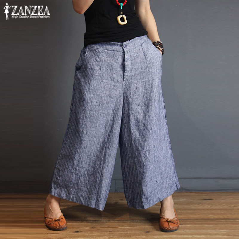 Women's Striped Trousers 2019 ZANZEA Plus Size   Wide     Leg     Pants   Female Baggy Bottoms Woman Pantalon Palazzo Vintage Casual   Pants
