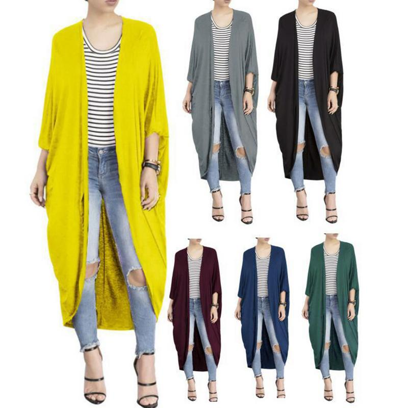 Irregular Bat Autumn Windbreaker Long Sleeve Long Cardigan Knitted   Trench   Coat Woman Casual Loose Soft Long Sleeves Solid V-Neck