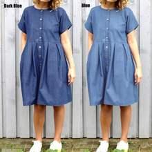 fba56d8313 Celmia Kadın Vintage Pileli Diz Boyu Elbise 2019 Yaz Rahat Kısa Kollu Düğme Gömlek  Elbise Gevşek Denim Vestidos Artı boyutu
