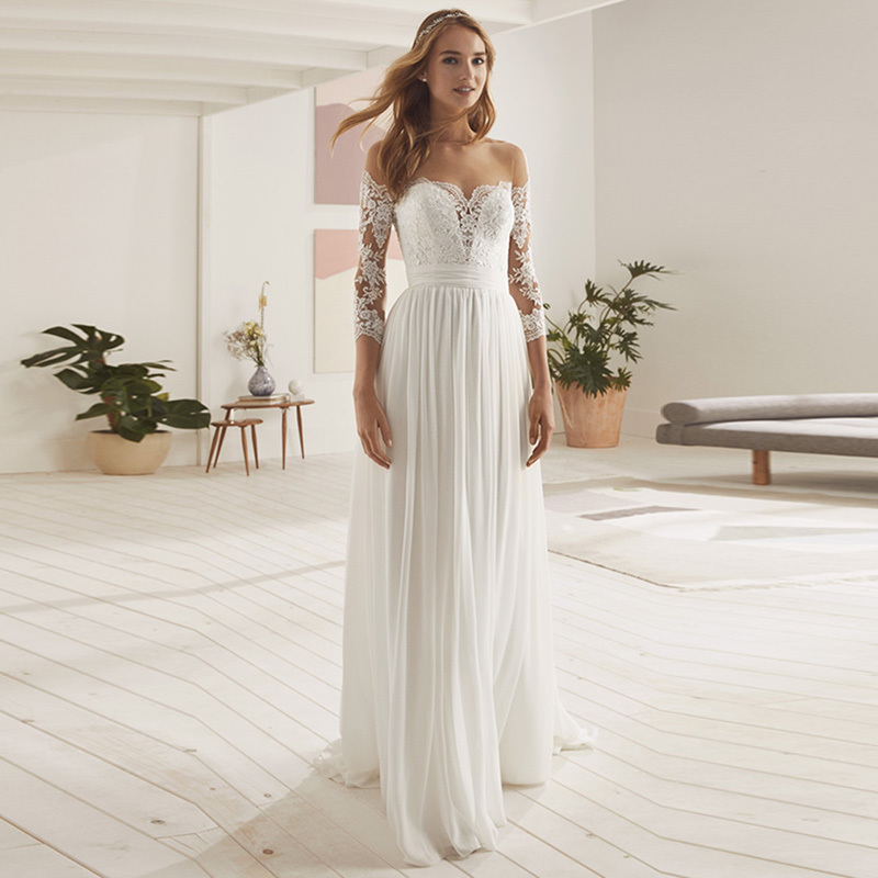 Eightale Beach Wedding Dress with Long Sleeve 2019 O-Neck Appliques Lace Chiffon Backless Bridal Gown Wedding Party Dress