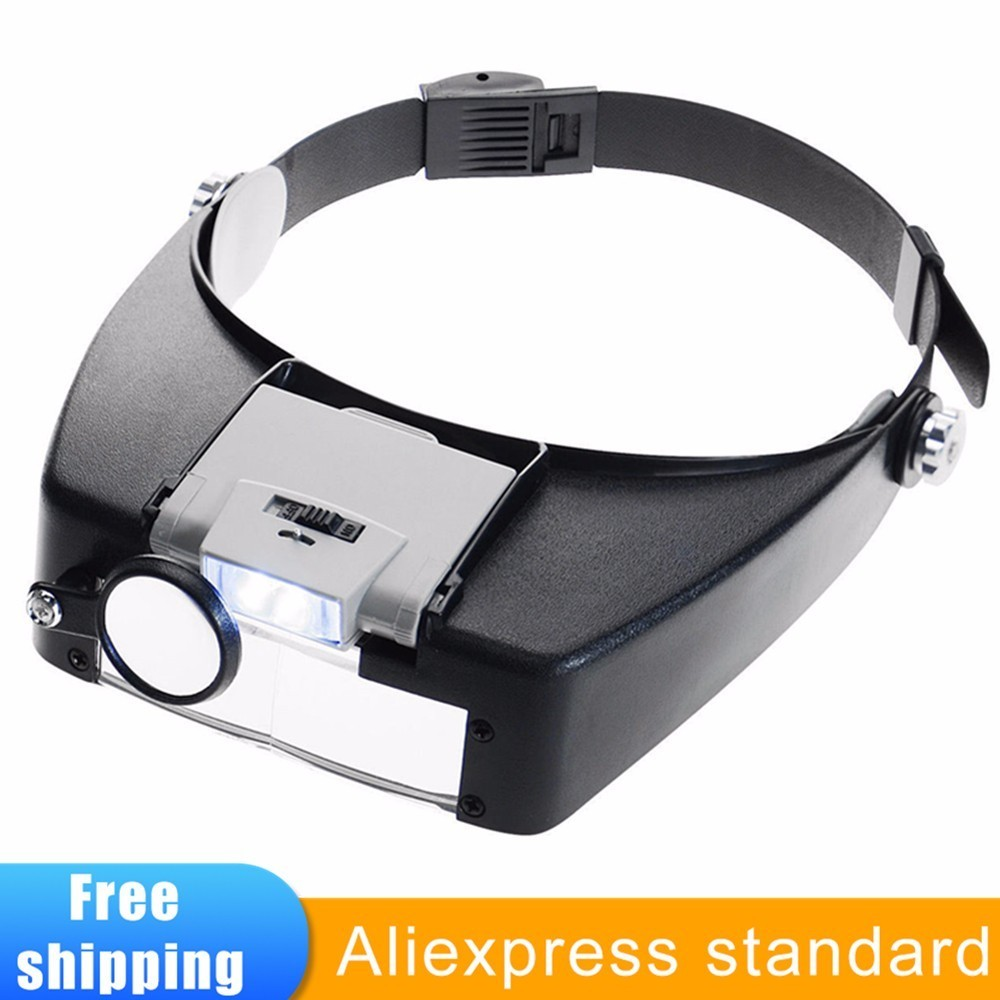 Headband Magnifier Led Light Head Lamp  Magnifying Glass Jeweler  Loupe With Led Lights 1.5x 3 X 8.5x 10x