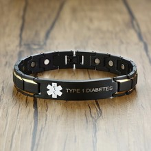 TYPE 1 and 2 DIABETES  BLOOD THINNER WARFARIN Medical Symbols Stainless Steel Magnetic Bracelet in Black Male Jewelry