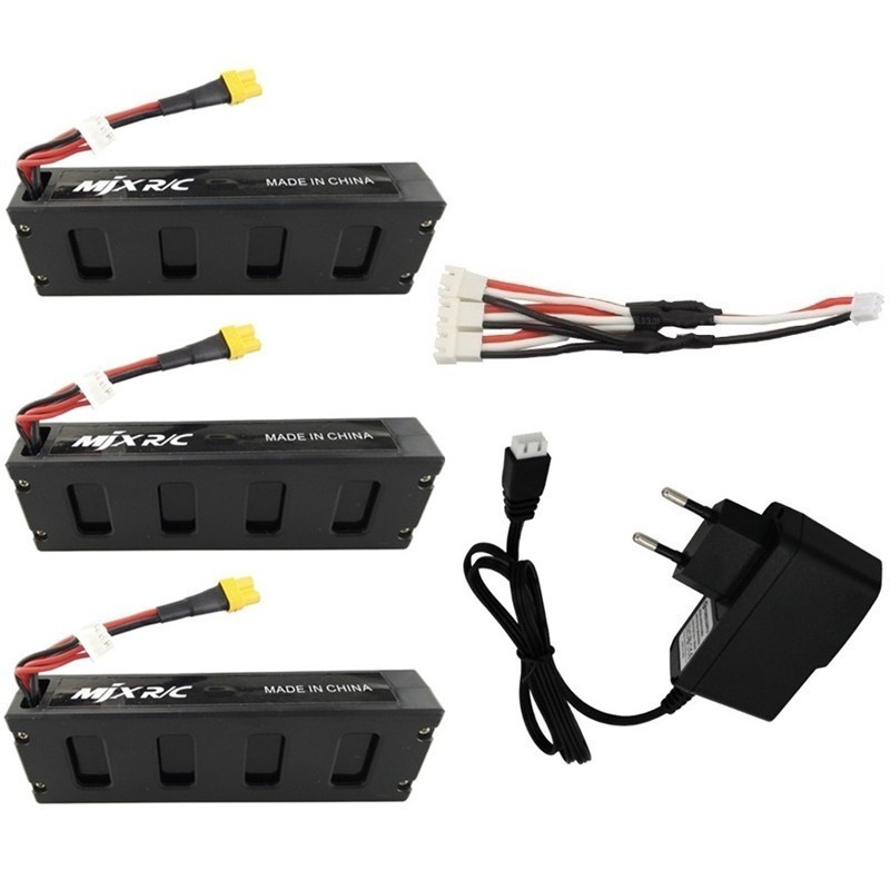 5Pcs Battery Charger Set For MJX R/C Bugs 3 B3 7.4V 1800mah Li-po Battery For MJX B3 RC Quadcopter Drone Spare Parts Accessories
