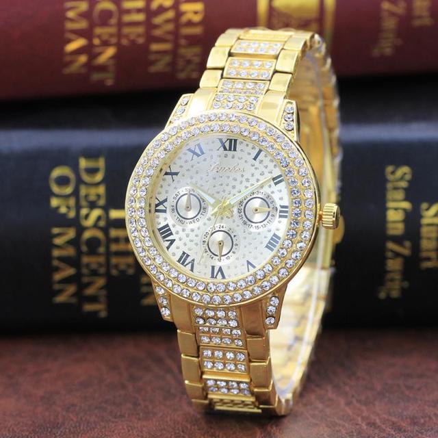 Metal Bracelet Quartz Women Gold Watch Stainless Steel Band Crystal Watch top br