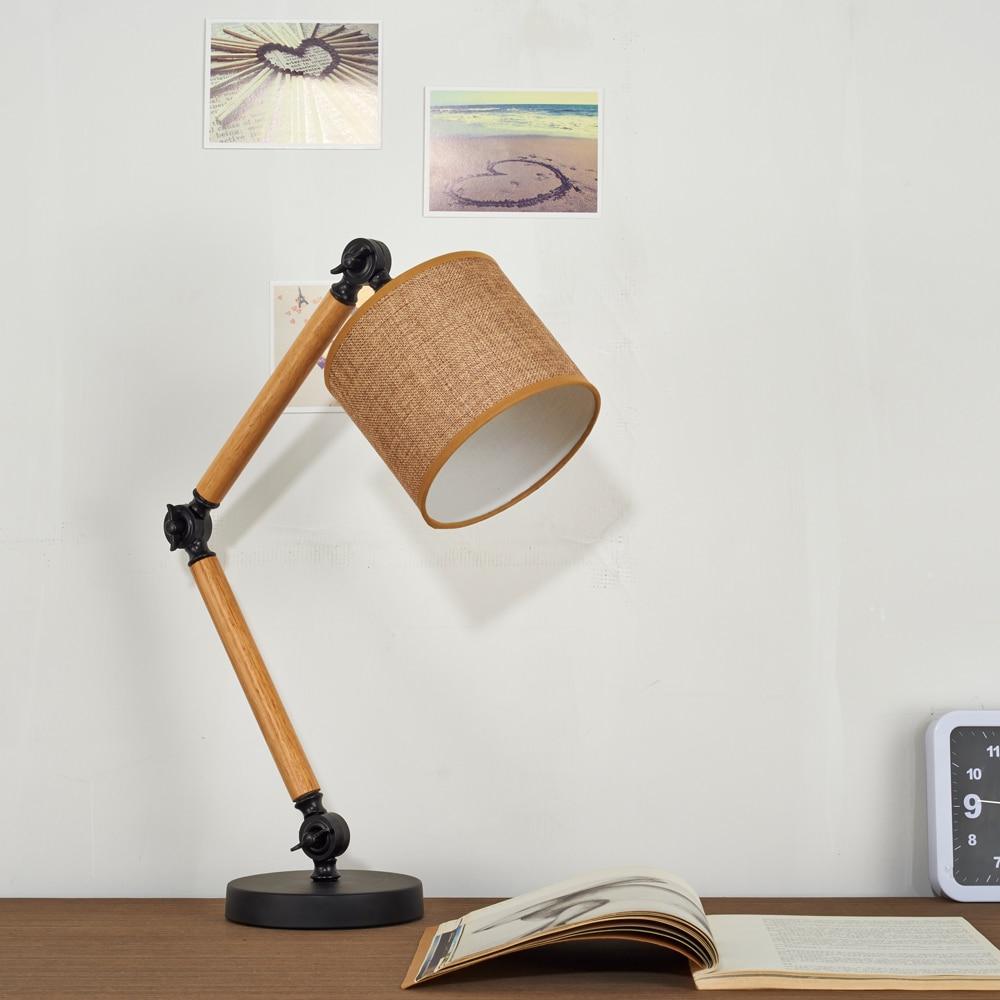 Bois/bambou créatif réglable support lampe de Table pour la maison E27 vis lampe de Distribution pour chambre créative lampe de bureau - 2